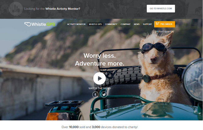 スマホで愛犬の健康状態と居場所をチェックできる「WhistleGPS」