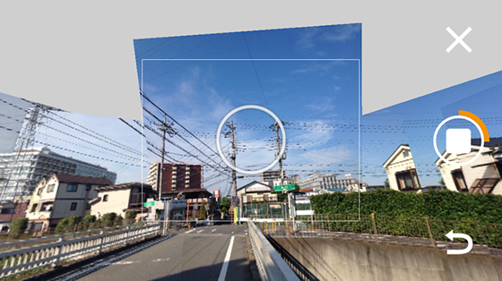 「Photo Sphere Camera」撮影中