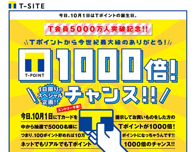 「Tポイント」のアクティブ・ユニーク会員数5,000万人突破